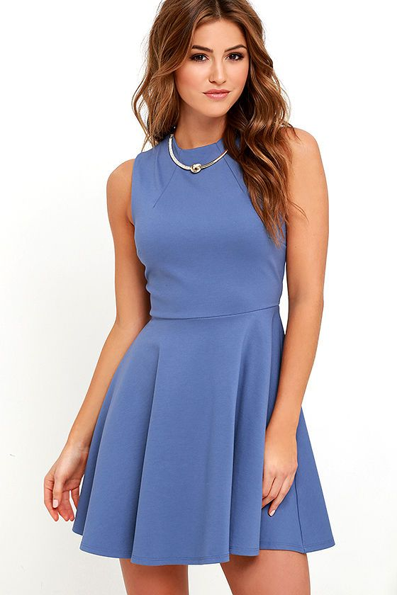 c367849cf4 Fun-Loving Slate Blue Skater Dress in 2019