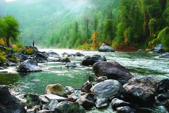 Fly Fishing On The Trinity River Right Outside The Strawhouse Cafe Picture Of Strawho Northern California Camping California Beach Camping Mendocino Camping