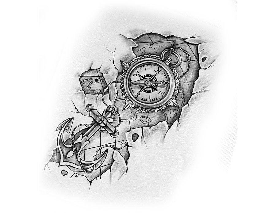Photo of Kompass mit Anker und Karte – Tattoo-Design