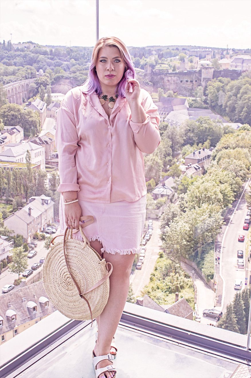 f7a5123a64b pink satin blouse on pink denim skirt - plus size fashion for woman - curvy  outfits