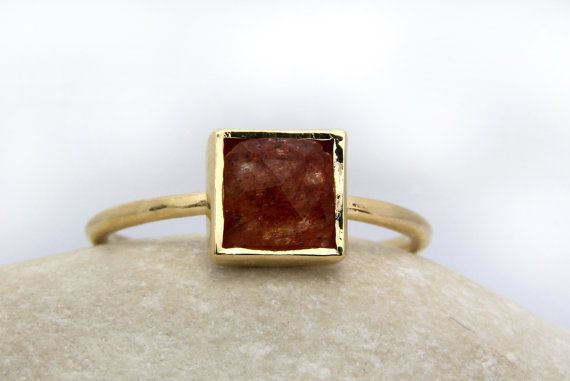 20% OFF - peach jade ring,stacking gemstone ring,delicate ring,small stone ring,gold ring,semiprecious ring,square ring