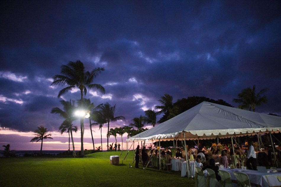 Sunset Wedding Reception Paradise Cove Tent Hawaii