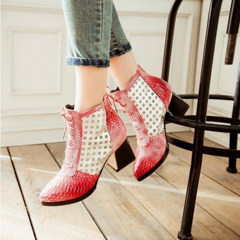 Shoes - Fashion Pointed Toe Snake Print High Heel Boots #snakeprintbootsoutfit