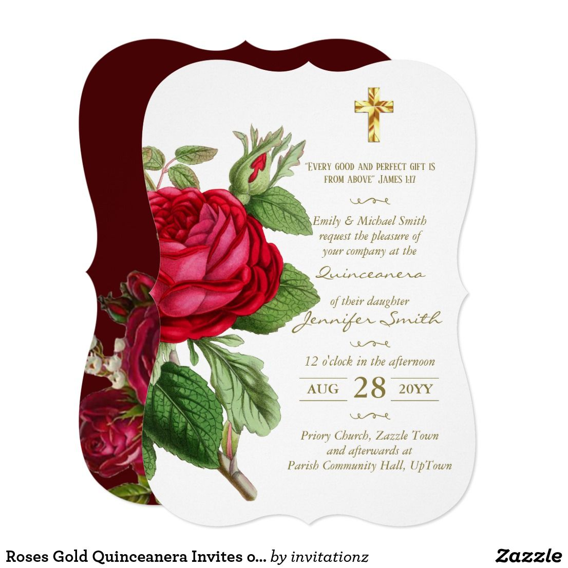 Roses Gold Quinceanera Invites or ANY EVENT | Catholic Store Online ...