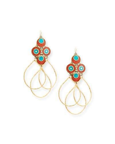 Devon Leigh Turquoise & Coral Leaf Earrings 39ypunk