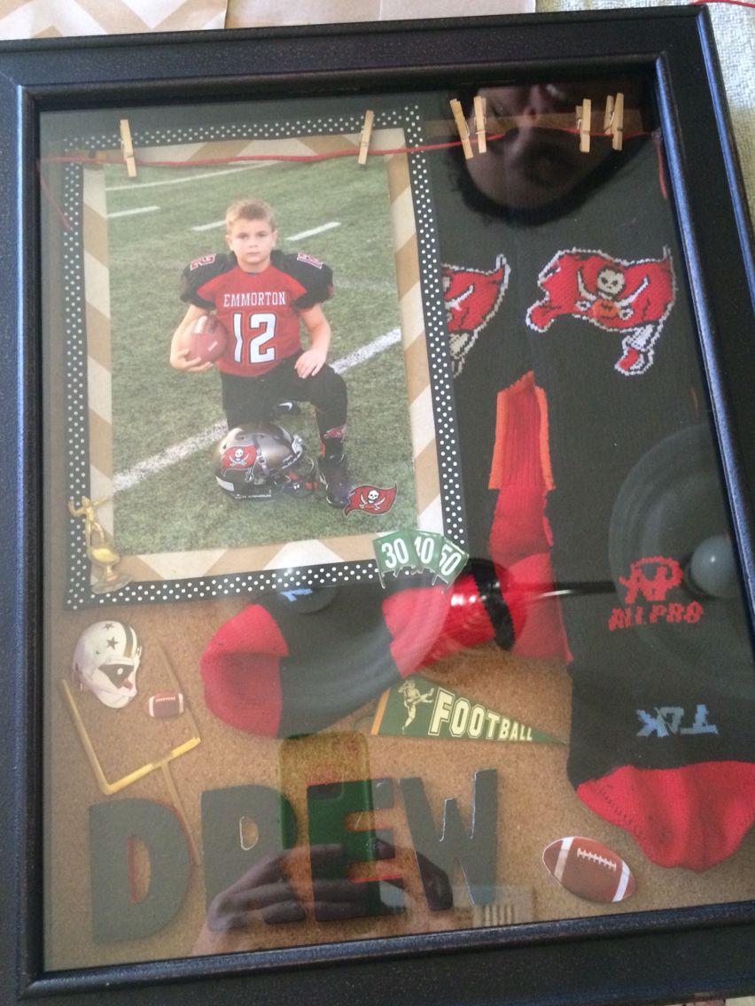 Football game sock memorabilia shadow box for child. Diy