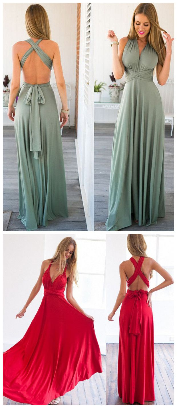 Chic aline straps chiffon green simple long prom dress evening