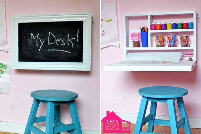 Flip down wall art desk | 40 Brilliant DIY Organization Hacks #craftsforteenstomakeboys