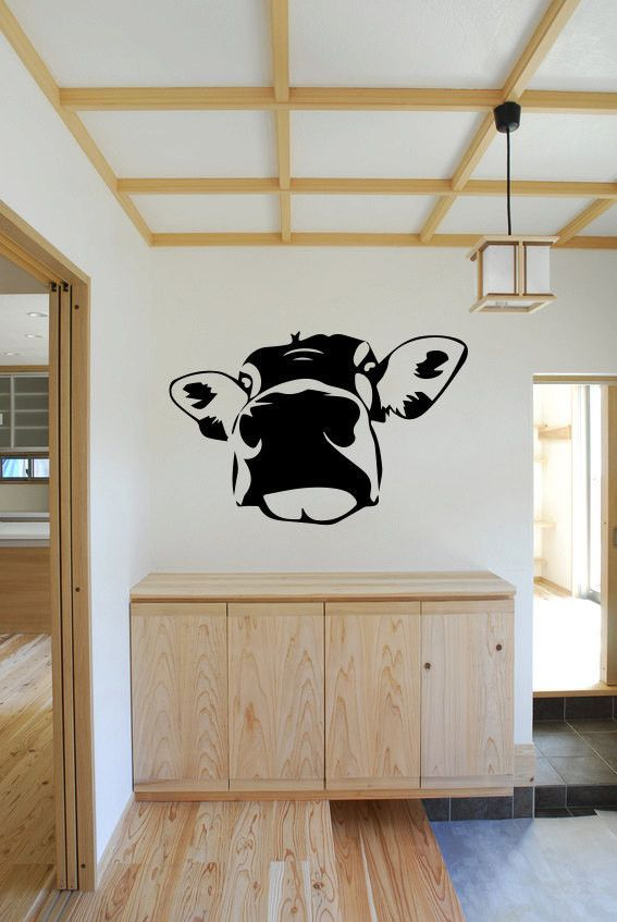 Cow face vinyl wall decal sticker made from 10 year high quality vinyl which leaves no residue upon removal some decals may come in multiple piece