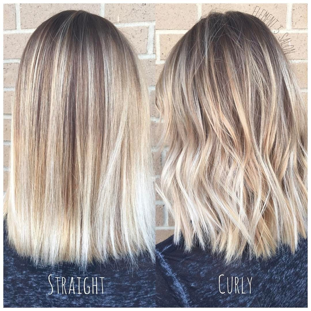 Bright blonde balayage styled straight and curly beauty
