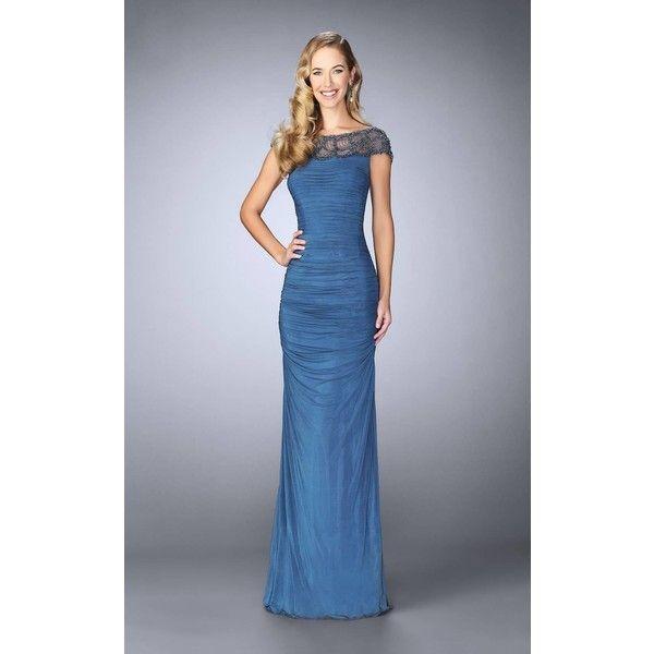 La Femme 23215 Formal Gown Long High Neckline Short Sleeve 498