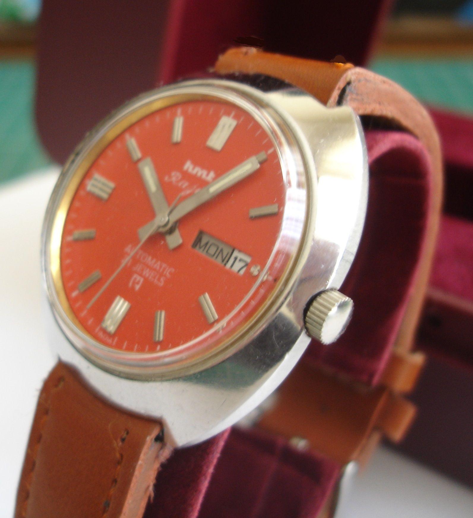 Hmt Rajat 21 Jewel Automatic Mens Wristwatch Red Pink Dial Etsy Wristwatch Men Jewels Tan Leather Strap