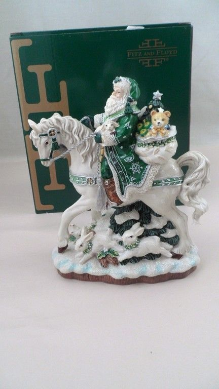 MIB Fitz & Floyd Winter Garden Santa Claus Riding White Horse ...