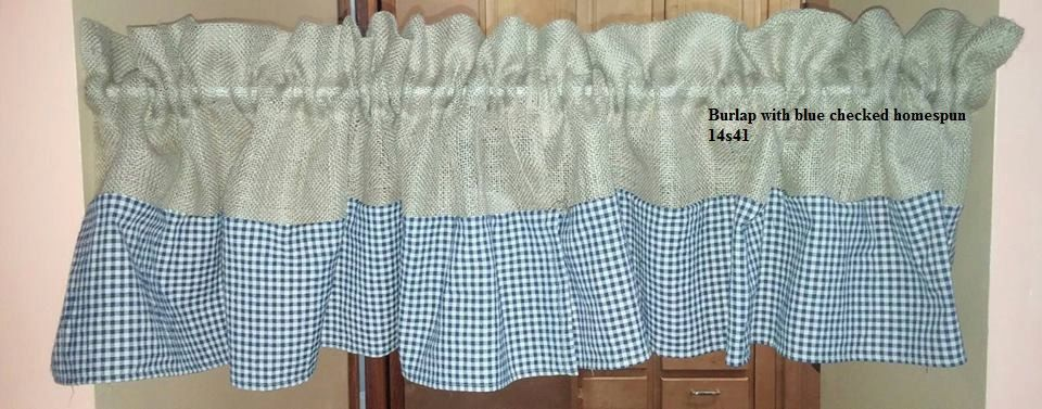 Burlap valance with homespun fabric or lace accent by WhimsicallWears on Etsy