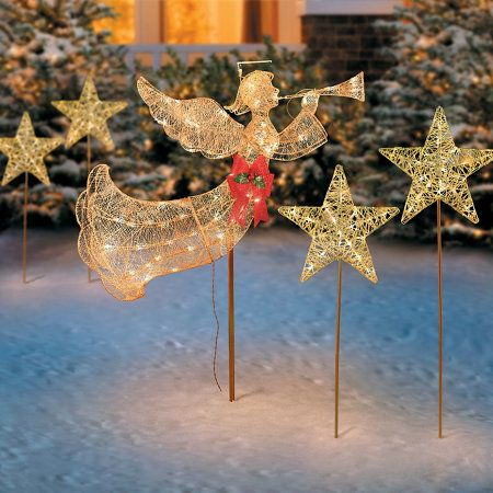 Lighted Flying Angel With Trumpet Christmas Decoration Outdoor