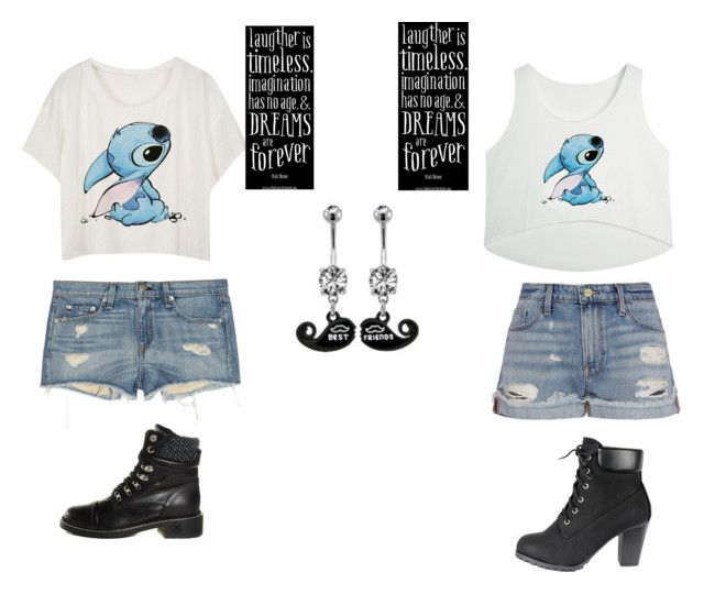 """""""BFF outfits"""" by archery2004 ❤ liked on Polyvore featuring rag & bone/JEAN, Frame Denim, Chanel, Disney, women's clothing, women, female, woman, misses and juniors"""