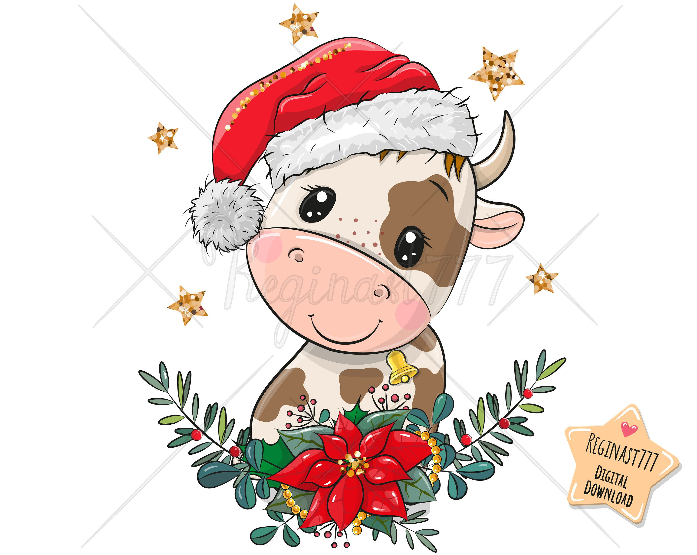 Cute Bull Png Digital Download Clipart Adorable Graphics Etsy Cute Christmas Wallpaper Cute Christmas Cards Clip Art