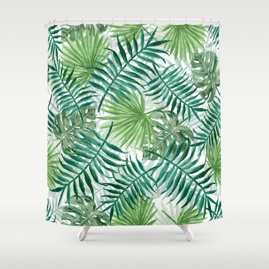 Large Green Fern Palm And Monstera Tropical Plants Shower Curtain