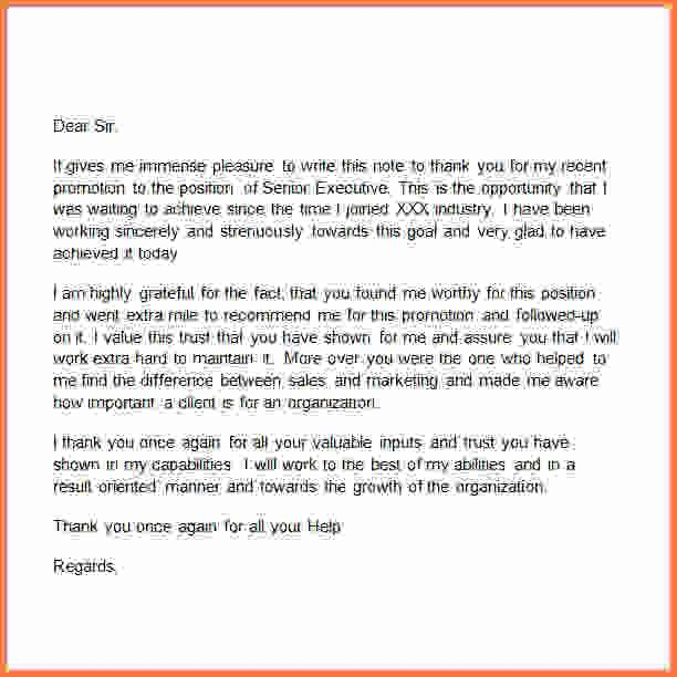 Appreciation Letter Bossb Promotion Thank You Letterg Sales Note
