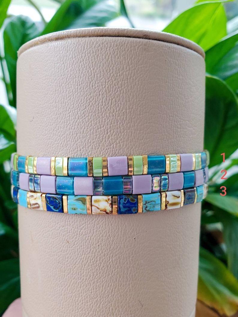 Photo of Colorful Glass Tile Beaded Bracelet, Tila Tile Bracelet, Miyuki Bracelet, Stretch Tila Bracelet, Colorblock Bracelet, Layering Bracelet