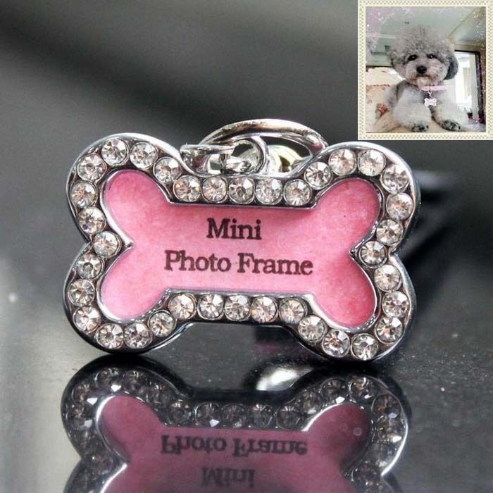 Pet Puppy Dog Metal Bone Shape Picture Photo Frame