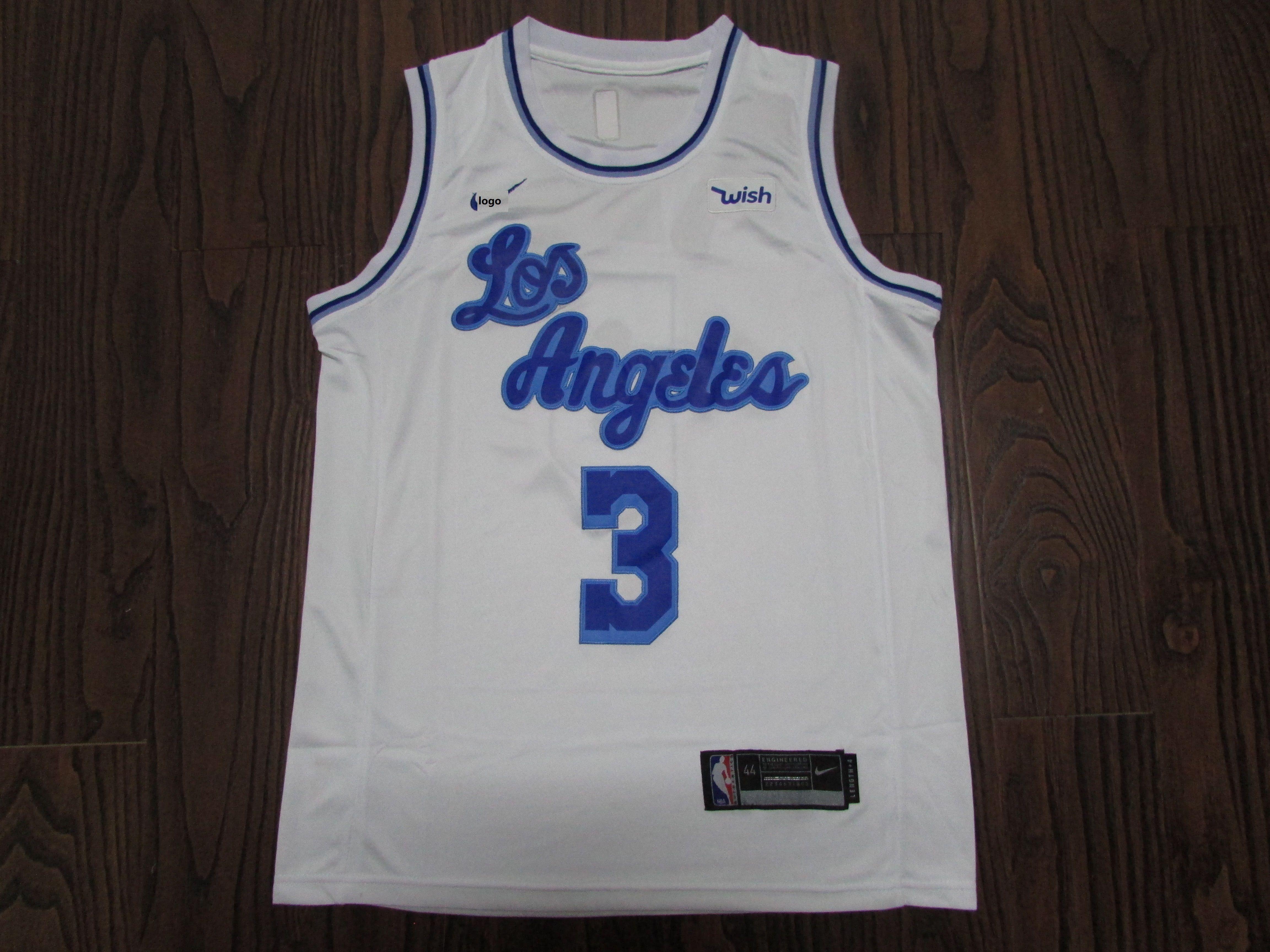 19-20 MEN Lakers basketball jersey shirt retro DAVIS 3 white ...