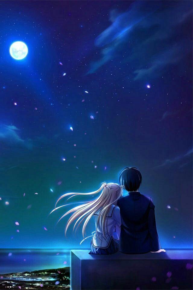 Wallpaper Sky Ezmkurd Stars Kawaii Animewallpaper Love Anime Kawaii Wallpaper Anime Scenery Romantic Anime Anime Love