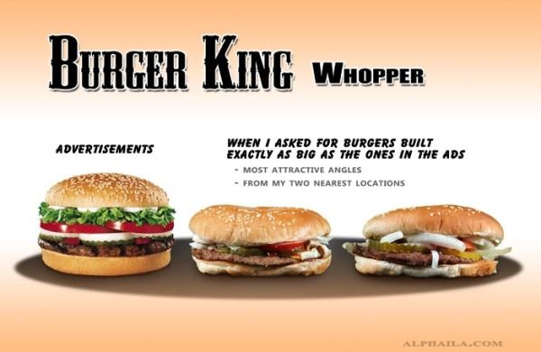 Burger King Whopper - 15 Examples of Advertising vs. Reality