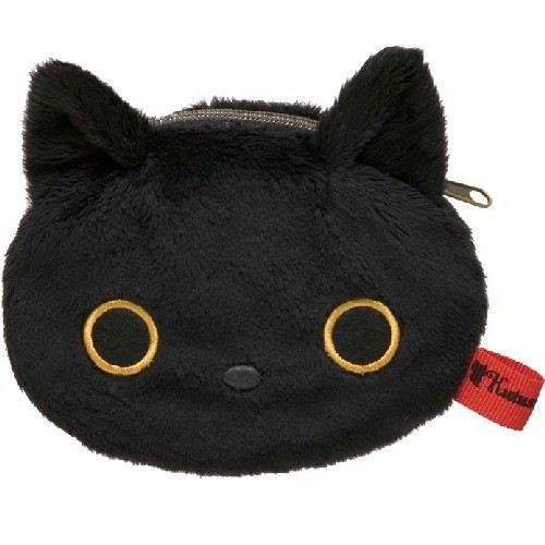black Kutusita Nyanko cat plush pouch wallet
