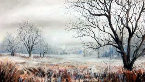 Dessin et peinture vid o 2053 comment peindre un paysage d 39 hiver aux pastels - Dessiner un paysage d hiver ...