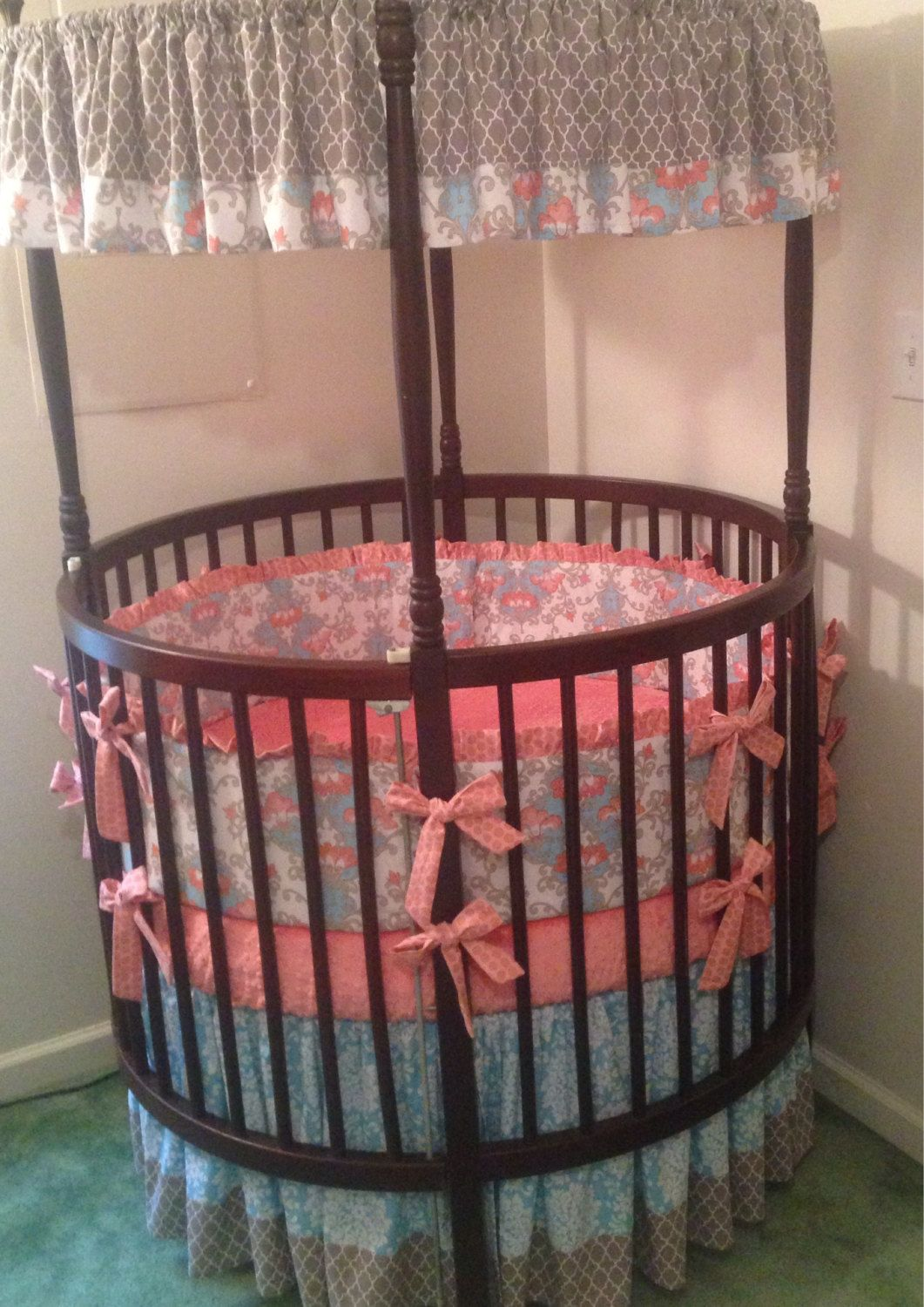 Round Crib Bedding Set Aqua Coral And Gray By Butterbeansboutique