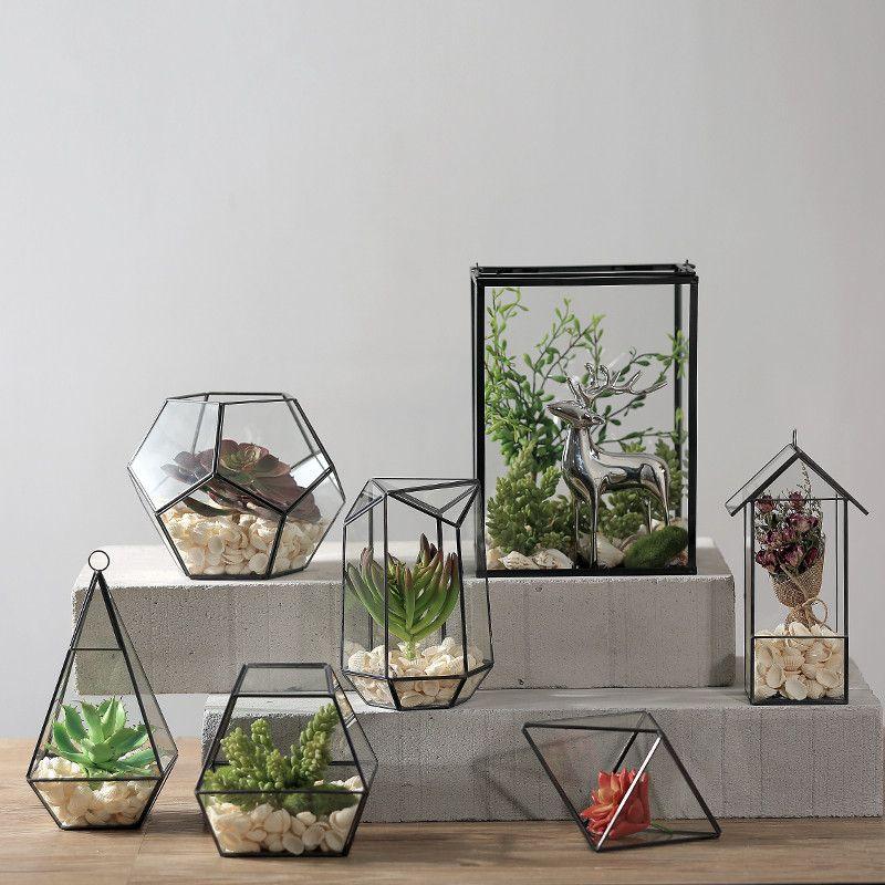 Glass Tabletop Geometric Terrarium Box Succulent Fern Moss Planter Holder