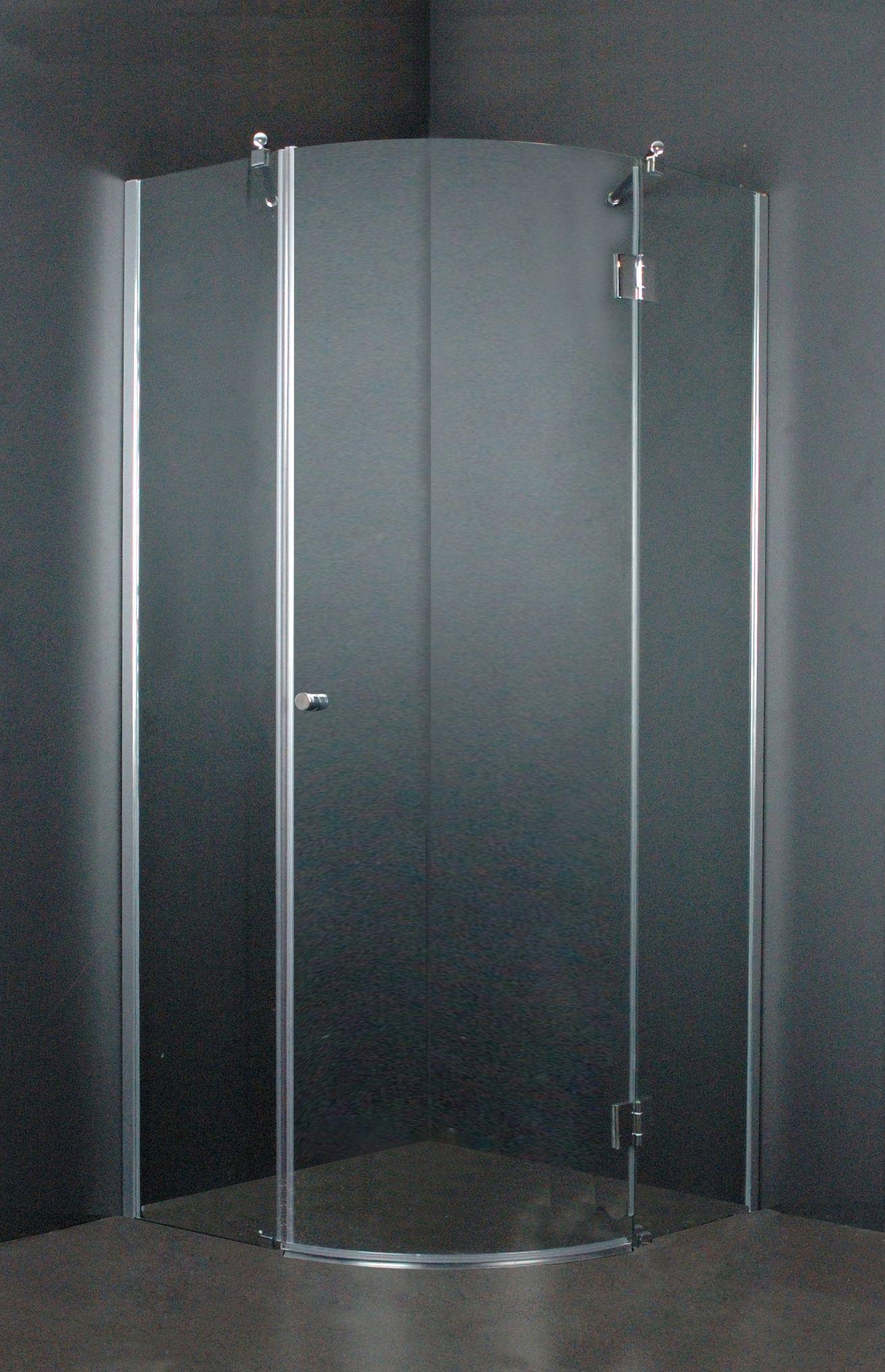 kwart ronde douchecabine met à à n deur gemaakt van glas