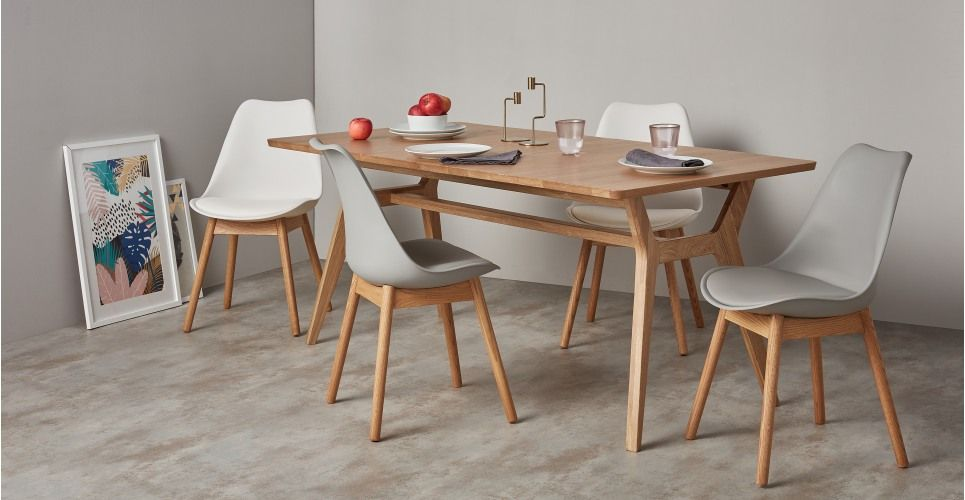 2 X Thelma Dining Chairs Oak And Grey Made Com Scandi Dining Room Oak Dining Chairs Scandi Dining Chair