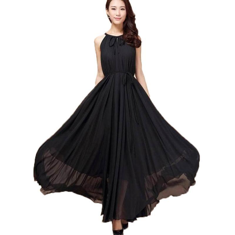 Women Summer Chiffon Dress Orange Blue Black 6XL Plus Size Sleeveless Long  Halter Dress Bohemian Elegant Casual Beach Maxi Dress 935c84924e07