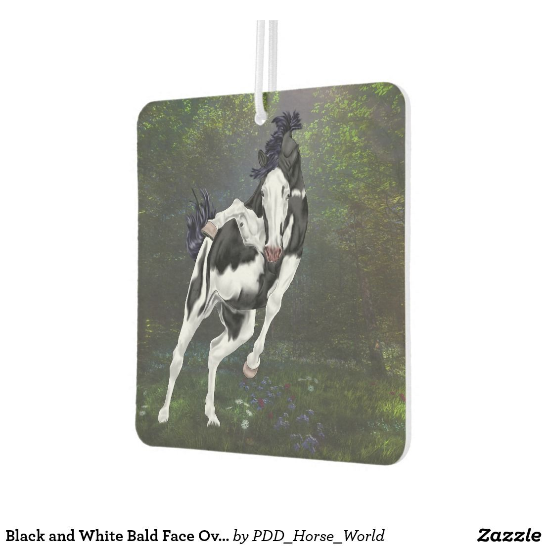 Black And White Bald Face Overo Paint Horse Car Air Freshener Painting