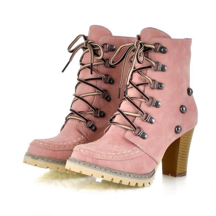 LADIES ANKLE BOOTS WOMENS PINK ANKLE BOOTS FUR INSIDE LACED BOOTS