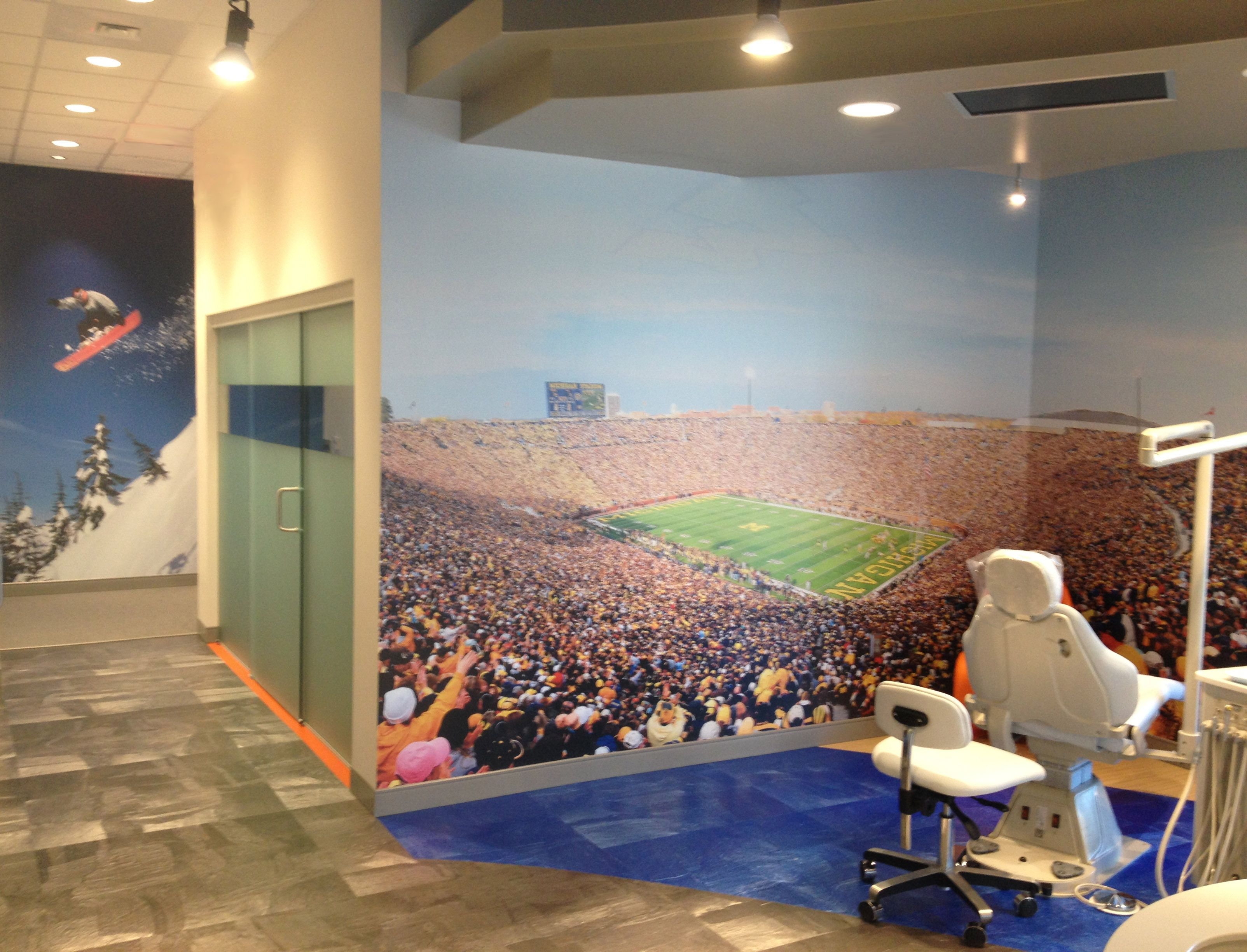 Sports wall murals in orthodontic office Lineberger Orthodontics