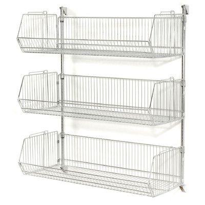 Wall Mount Basket 34 H 2 Shelf Shelving Unit Wire Basket