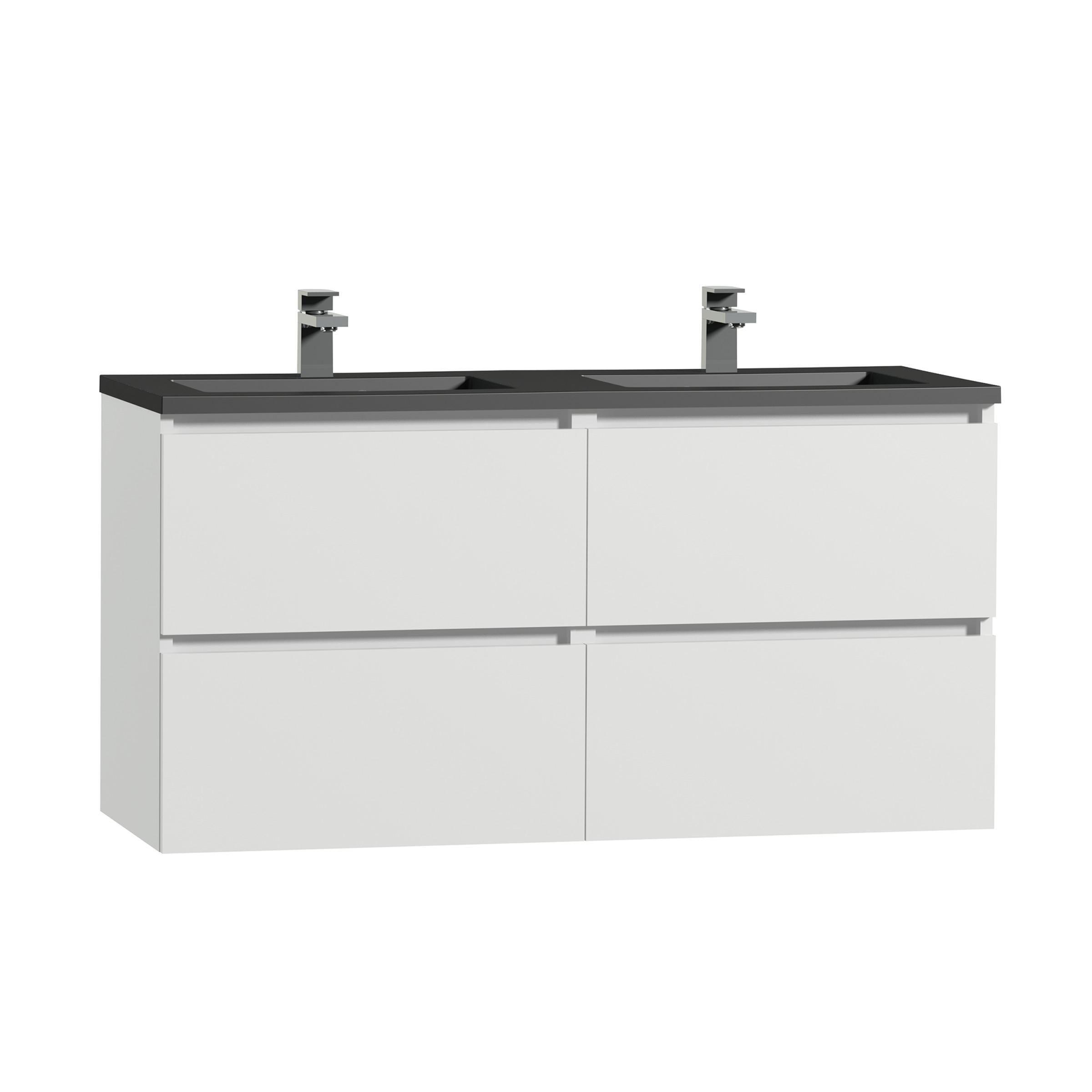 tiger karlo badkamermeubel 120 cm hoogglans wit met wastafel zwart