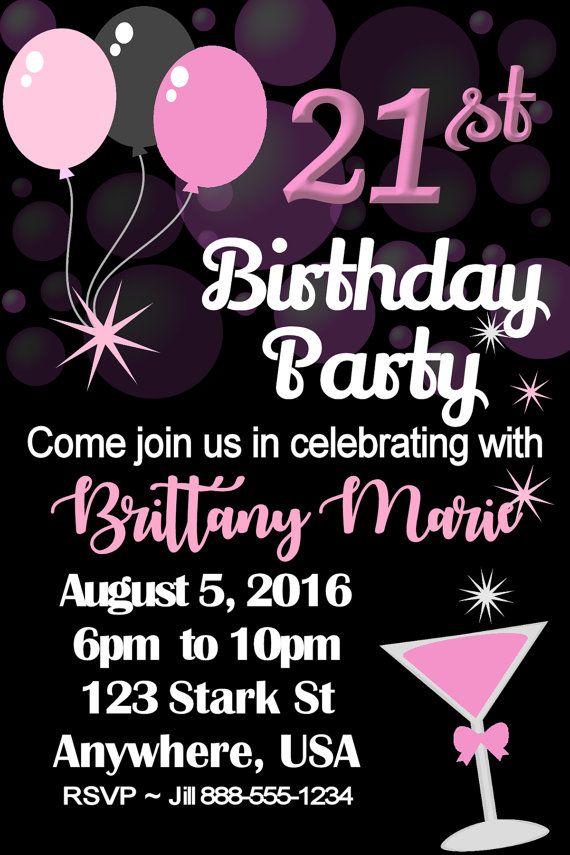 21st, 21, Twenty One, Finally Legal Birthday Party Invitation ...