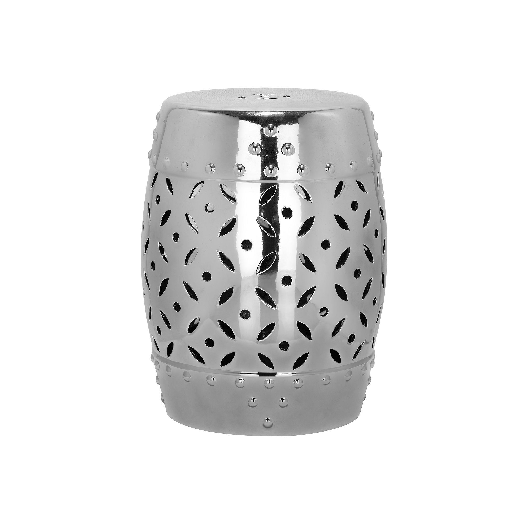 Outdoor Safavieh Lattice Coin Ceramic Garden Stool, Grey