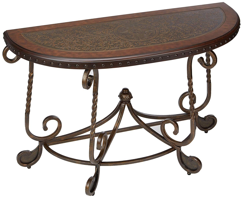 Ashley Furniture Signature Design Rafferty Sofa Table Traditional Style Entertainment Console Table Semi Circ Diy Sofa Table Simple Sofa Table Sofa Table