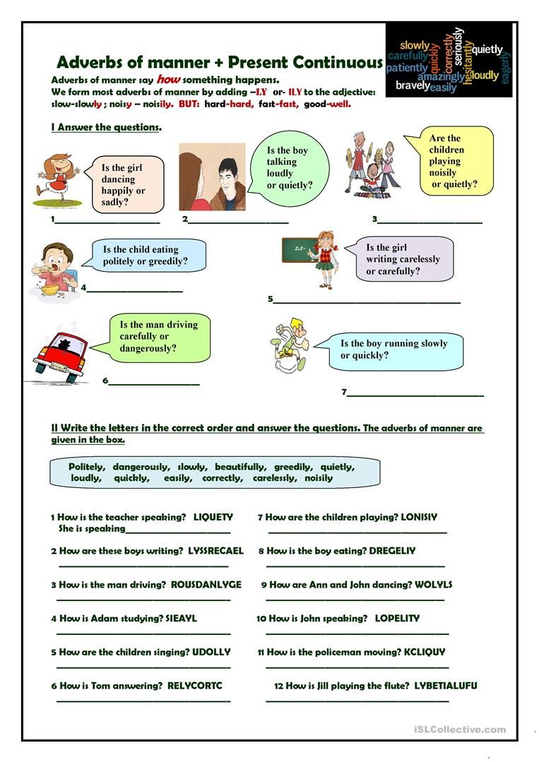 Adverbs of manner + Present Continuous - English ESL Worksheets   Adverbs [ 1079 x 763 Pixel ]