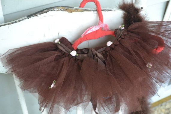 Child's brown tutu with pastel pink roses by ShuhpuppyAndDeppy, $20.00