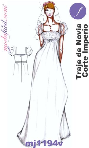 descarga gratis los moldes de traje de novia de corte imperio o
