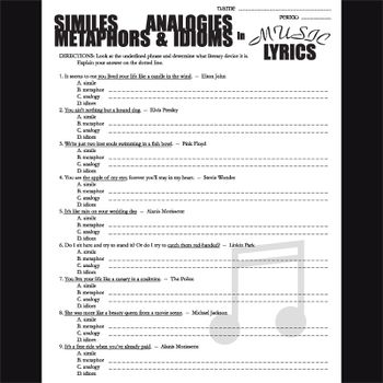Poetry in Music Lyrics - Metaphors, Similes, Analogies, & Idioms