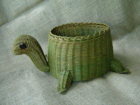 Vintage Whimsical Green Turtle Wicker Basket