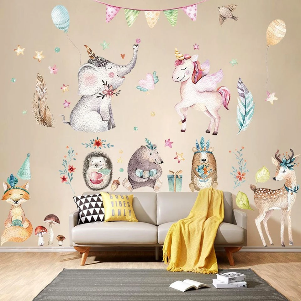 cute cartoon unicorn wall stickers for kids room girls on wall stickers for kids id=72434