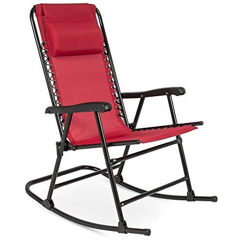 Best Choice Products Foldable Zero Gravity Rocking Patio Recliner Lounge Chair W Headrest Pillow In 2021 Rocking Lawn Chair Camping Rocking Chair Folding Rocking Chair